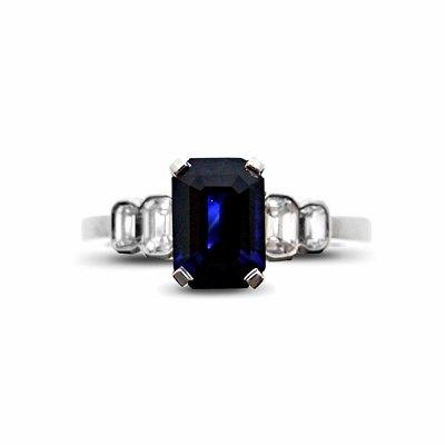 Sapphire & Diamond Step Down Style Ring - 1.20ct